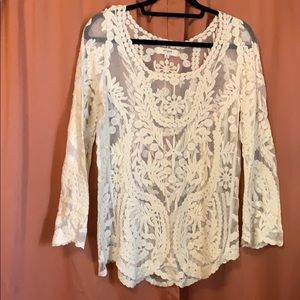Umgee long sleeve white lace, crocheted top